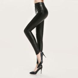 6229b59c4d 2017 Autumn Skinny PU Leather Pants Legging Women Trousers Plus Size Slim  Stretch Thin Black Faux Leather Pencil Pants Pantalone