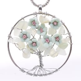 Wholesale acrylic christmas tree ornaments - 2018 New Product Flowers Ornament Tree of Life Stone Pendant Necklace for Women and Girls Wholesale