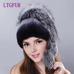 LTGFUR Inverno donna rex cappello di pelliccia di coniglio con pelliccia di  volpe intera top 2017 nuovi cappelli di lana elastico di alta qualità delle  ... 2528dc6627f9