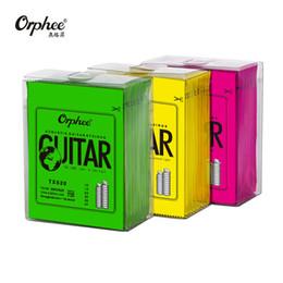 cuerdas de guitarra acústica Rebajas Orphee Hot Sell 1 SET ACOUSTIC Cuerda de guitarra Núcleo hexagonal + 8% níquel COMPLETO, Bronce Tono brillante Extra liviano Extra ligero Medio