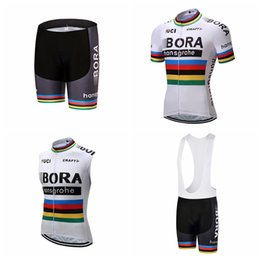 Wholesale blue vest set - BORA team Cycling Short Sleeves jersey (bib) shorts Sleeveless Vest sets Breathable Racing Bicycle Cycling Clothing ropa ciclismo A41315