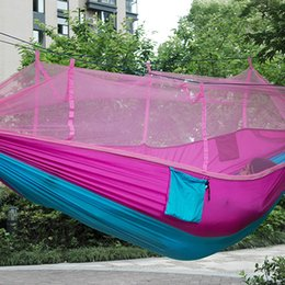 Wholesale Indoors Hammock - utdoor Furniture Hammocks 2016 Newest Fashion Handy Hammock Single Person Portable Parachute Fabric Mosquito Net Hammock for Indoor Outdo...