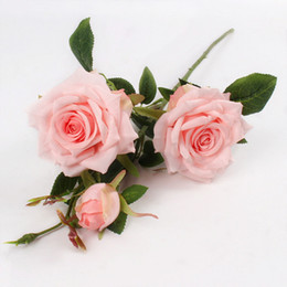 Rosas para plantar online-Artificial 3heads Paris Roses flores Plantas artificiales flores de seda decorativas para la boda Home Party Decoration Accor