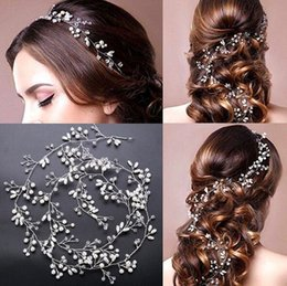 Wholesale Gold Prom Hair Accessories - Wedding Bridal Crystal Fascinators Long Hair Chain Jewelry Rhinestone Crown Princess Queen Headdress Prom Gold Silver Hair Band Accessories
