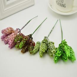 vasi da tavola di fiori artificiali Sconti 5 pezzi di plastica verde pianta ananas erba vasi per la casa tavolo da sposa decora fai da te scatola regalo bouquet di fiori artificiali