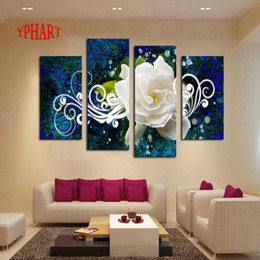 Wholesale House Picture Frames - Wholesale-No Frame 4 panel Bright-Colored Flower Large HD Picture Modern Home Wall Decor Canvas Print Painting For House Decorate