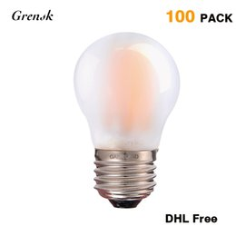Wholesale frosted globe lights - Antique LED Filament Light Bulb DHL Free G45 Frosted Shape 4W 2700K Globe E26 E27 Base Decorative Lamp Dimmable