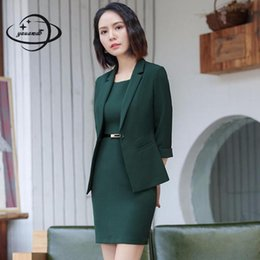 ad8dc489e1f YAUAMDB women dress suits 2018 spring autumn S-4XL female blazer clothing  set blazer+knee length dress 2pcs ladies clothes ly140