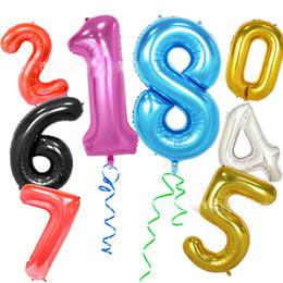 Decorações de festa rosa preto e prata on-line-40 polegada de ouro prata azul rosa preto número balão de festa de casamento de aniversário decoração celebração fina folha de alumínio balões de hélio
