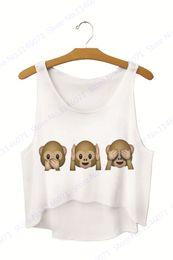Wholesale womens vest brown - Brown Cute Three Monkeys Short Running Vests Loose Summer White Sleeveless Basic Blouses Womens Camis Crop Top