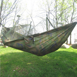 Furniture Swift 250x135cm Portable Camouflage High Strength Parachute Nylon Camping Mosquito Hammock With Mosquito Nets Outdoor Furniture