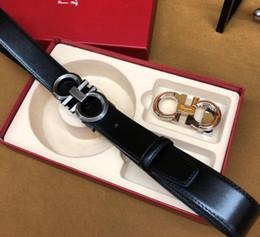 ceinture en cuir marron large pour femme Promotion 2019 Chaude boîte de cadeau pour hommes de ceinture pour dames haut de gamme ceinture ceinture de luxe livraison gratuite Ferragamo double boucle # 27