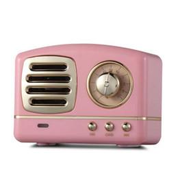 radio rétro Promotion Classique Rétro Vintage Haut-parleurs sans fil Bluetooth Radio innovante Mini haut-parleur portable Stéréo Bass Bass Disque FM U Mains Libres Subwoofer