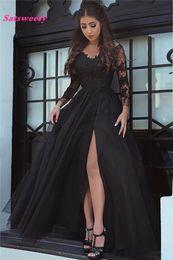il merletto lungo si srotola indietro Sconti 2019 New Design Appliques di pizzo Illusion Slit Abito da sera Open Back Formal Party Gown manica lunga Prom Dresses