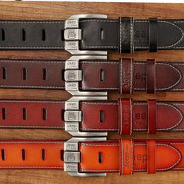 Wholesale Process Metal - Luxury Elegant Cowhide Belt Manual Processing Without Burr Strap Metal Needle Buckle Waist Belts For Men 17dj B