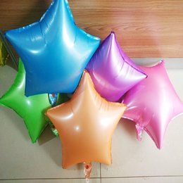 Wholesale Color Foil - 100pcs Fluorescence color five point Star foil Balloons 18inch happy Birthday Wedding Party Decorations kids enlightenment color