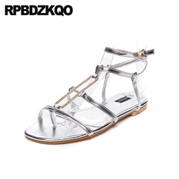 Wholesale strappy sandals rhinestones - Flat Rhinestone Open Toe Strap Up Shoes Cage Women Wedding Embellished Silver Crystal Diamond Nice Strappy Gladiator Sandals