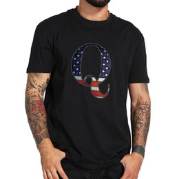 cool pattern shirts men Promo Codes - US Size QAnon Tshirt Men American Flag Pattern Color Cool Shirts Women 100% Cotton Black T-shirt Freedom Movement