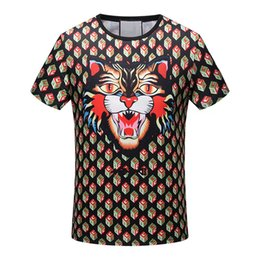 Wholesale Tiger 3d Tshirt - 2018 new Men Brand casual t-shirt fashion designer 3D Tiger Head print Summer luxury europe Cotton tshirt tee top