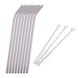 Wholesale cleaning accessories home - Reusable Drinking Straw Stainless Steel Metal Straw with 3 Cleaner Brush For Mugs Straws Home Party Bar Accessories