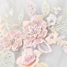Canada Coloré fleur strass broderie stéréo 3D patch en dentelle avec perle robe de mariée matériaux de bricolage accessoires de costume théâtral T025 Offre