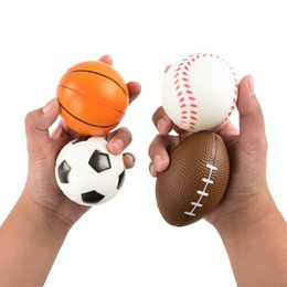 Wholesale Volleyball Charms - 2018 Soccer Football Squishy Toys Baseball Basketball Volleyball Slow Rising Jumbo Squeeze Phone Charms Cream Bread Stress Reliever Gift