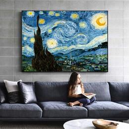 Pinturas de noite estrelado on-line-Impressionista Van Gogh Starry Night Pinturas A Óleo Impressão Na Lona Noite Estrelada Decorativa Pictures Para Sala de estar Cuadros Decoração