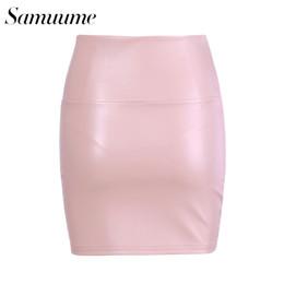 324645e8da2ae7 Samuume Solid Color Warm Mini PU Pencil Skirt Women 2017 High Waist Office  Lady Bodycon Sexy Leather Skirts Autumn B1707054