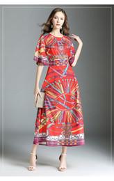 Discount chiffon short round dresses - Bohemian new ladies autumn blend round neck waist short sleeve waist large retro print reply long skirt dress