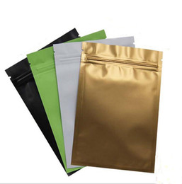 Wholesale White Aluminum Foil - Gold Green black white color Metallic Mylar ziplock bags flat bottom Black Aluminum foil small zip lock plastic bags 1000pcs lot