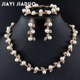 Wholesale Costume Jewelry Pearl Bracelets - whole salejiayijiaduo Simulated Pearl Bridal Jewelry Sets Gold-Color Necklace Set Wedding Costume Jewelry Necklace Earrings Bracelet Set