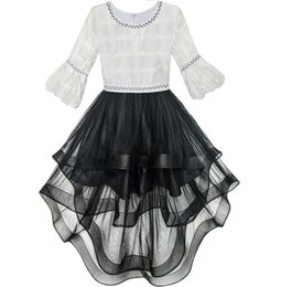 Wholesale Girls Christmas Dresses Size 14 - Flower Girl Dress White and Black Hi-lo Party Dancing Pageant 2017 Summer Princess Wedding Dresses Girl Clothes Size 6-14