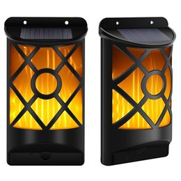 Wholesale Led Wall Mount Pathway Lighting - 66 Led Solar Waterproof Flickering Flames Wall Lights Outdoor Dark Sensor Auto On Off Solar Wall Mounted Night Lights for Garden Pathway