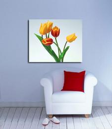 Art de toile de tulipe en Ligne-Tulips-I3-Un art de mur moderne sans cadre pour la décoration de maison et de bureau, peinture, peintures animales, peinture sur cadre