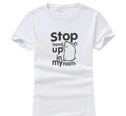Женская рубашка онлайн-Stop Hand Up 2017 новая мода женщины / мужчины хлопок o шеи с коротким рукавом печати повседневная футболки свободные персонализированные уникальный тройники Оптовая