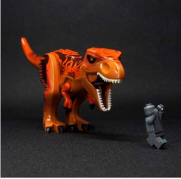 Wholesale toy city buildings - City Block Super Tyrannosaurus rex Mini Jurassic Dinosaur Blocks Building Bricks toys Figures