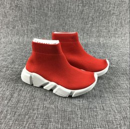 Wholesale High Top Sneakers Girls - 2018 Baby Kids Shoes Socks Boots High-Top Running Shoes Children Athletic Shoes Slip-On Boys Girls Casual Flats Speed Trainer Sneakers