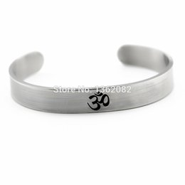 Wholesale Aum Ohm - Cool Silver Tone AUM OM Ohm Hindu Buddhist Yoga India Stainless Steel Cuff Opening for Men Women