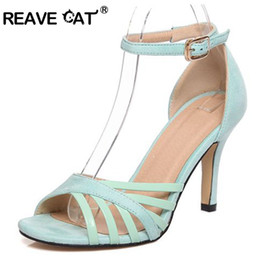 5ea14889641d56 REAVE CAT Brand Flock Ladies Mid heels Shoes woman Large size 33-43 Party  Sexy Buckle strap Cutouts Thin heels Rubber RL2492