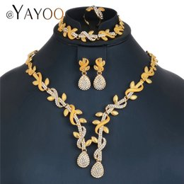 Wholesale Jade Jewellery Sets - whole saleAYAYOO Jewelry Sets For Women African Beads Jewelry Set Plant Gold Color Indian Jewellery Wedding Luxury Dubai Sets
