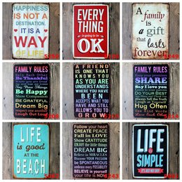 Wholesale china clubs - 20*30cm Vintage Retro Metal Sign Poster Poem Funny Family rule Plaque canteen Bar Pub caffee Club Wall Home Decor art metal Painting FFA604