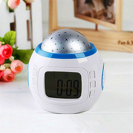 Wholesale Projector Light Clock - Music Colorful Starry Star Sky LED Projection Projector Light Alarm Clock-White Calendar Thermometer BedRoom Sky Star Night Light Projector