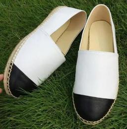 Pattini di tela di canapa più online-Espadrillas di marca di alta qualità in vera pelle Suole spesse scarpe di tela piattaforma delle donne scarpe di moda scarpe più Size35-42