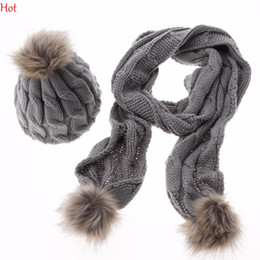 Wholesale white scarf balls - Top Hot Winter Scarf Hat Sets Warm Women Fashion Faux Fur Ball Cap Scarf Set Ladies Crochet Cap Beanie Knitted Ski Hats SV012864
