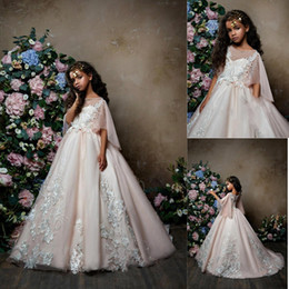 5ca5e4fe6d6 2018 Blush Pink Flower Girl Dresses with Butterfly Sleeves Jewel Lace  Applique Tulle Sheer Neck Girl s Pageant Party Gown BA9664 affordable blush  short ...