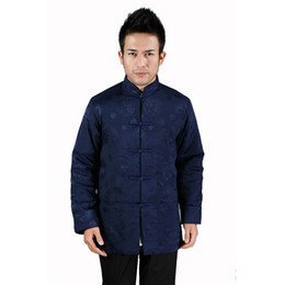 Wholesale Chinese High Collar Jacket - High Quality Navy Blue Men Silk Satin Jacket Chinese Kung Fu Coat Winter Thick Warm Wadded Overcoat Size M L XL XXL XXXL MJ061