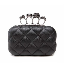 Sacchi di messaggero teschi online-Skull anello donna borsa da sera vintage donna con pochette pochette Ladies messenger bag Mini nero festa di lusso con pochette Y1890401