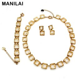 Wholesale Mix Match Earrings - MANILAI Fashion Accessories Glass Beads Metal String Party Necklaces Charm Bracelets Matching Earrings Crystal Jewelry Sets