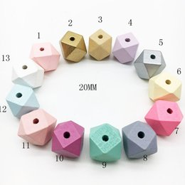 Wholesale wooden beads for necklaces - 15mm 20mm DIY Wooden Beads Rainbow Candy Color Geometric Wooden Beads for Baby Teething Necklace