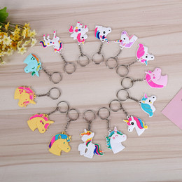 Wholesale horse key rings - Cute Fairytale PVC Unicorn Keychain Multi-style Horse Key Ring For Woman Girls Party Favor Gift ZA6679